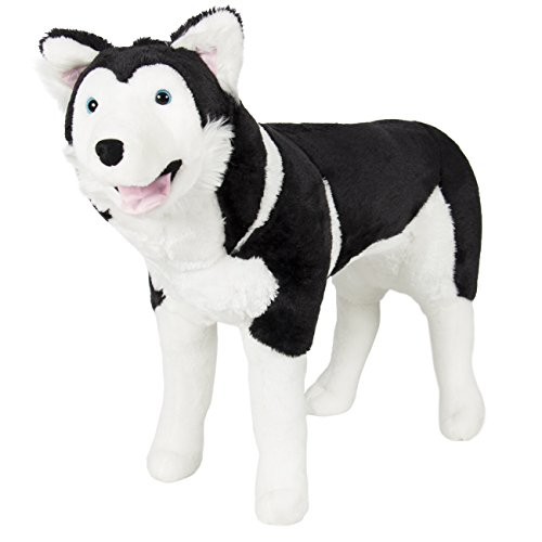 Best Choice Products Husky Dog Plush Animal Realistic Soft Stuffed Wolf Toy Pillow, Multicolor, Large