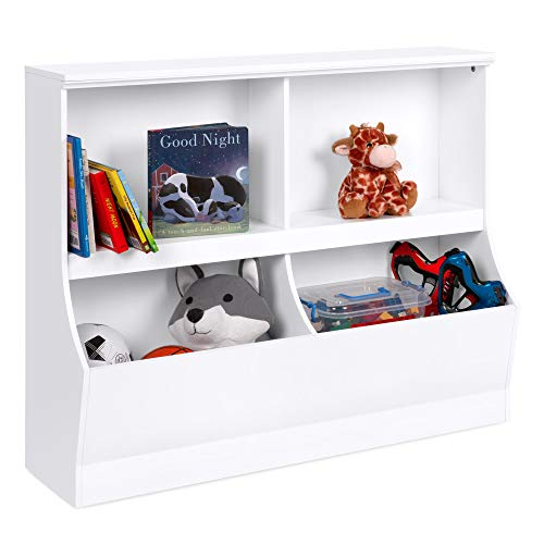 Best Choice Products Multipurpose 2-Shelf & 2-Cubby Kids Wooden Storage Book Toy Organizer Cabinet w/Wall Mount