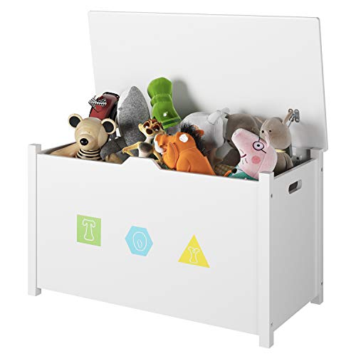 Homfa Wooden Kids Toy Chest with Flip-Top Lid, Large Sturdy Children Storage Cabinet Seat Bench Toddler Room Organizer Bin with 2 Safety Hinges for Nursery, Playroom, Home, White