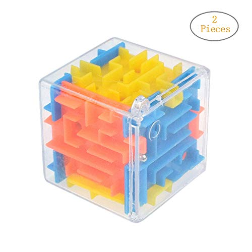 Transer- Maze Cube Puzzle Box - 3D Cube Puzzle Maze Case Toy - Fun Brain Game for Ingenuity Training and Stress Relief - Great Gift for Birthday and Kids (Multicolor, 2 Pcs)