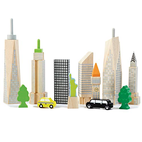 Top Right Toys City Skyline Playset; 15 Piece Set with 8 Famous Skyscrapers and City Landmarks