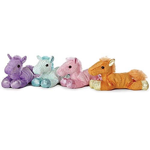 Mozlly Value Pack - Aurora World Purple and Pink and Blue and Orange Mini Flopsie Fantasy Glitter Pony Plush Dolls, 7 Inch Collectible Stuffed Animals - Sparkly Plushie for Kids, Toddlers (4 Items)