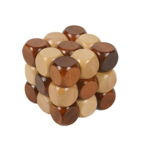 Jaswass Wooden Brain Teaser Puzzle KongMing Lock Wood Block Cube Jigsaw Puzzle, As Gift for Kids/ Adults ,Birthdays, Valentine's Day, Easter, Christmas