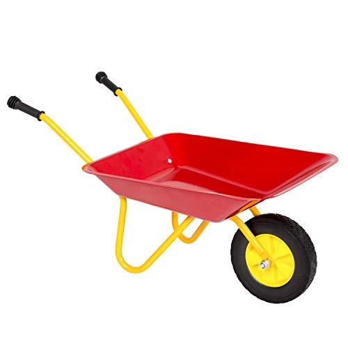Kinbor Kids Metal Wheelbarrow Heavy Duty Children's Wheelbarrow Kid's Garden Tool