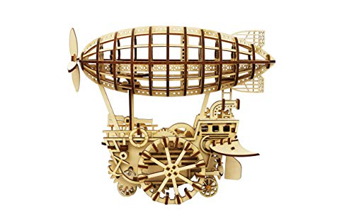 DIY 3D Wooden Puzzle Laser-Cut Mechanical Wind-Up Puzzle Model Kit, Premium Quality Wood, Non-Toxic and Safe. (Airship)