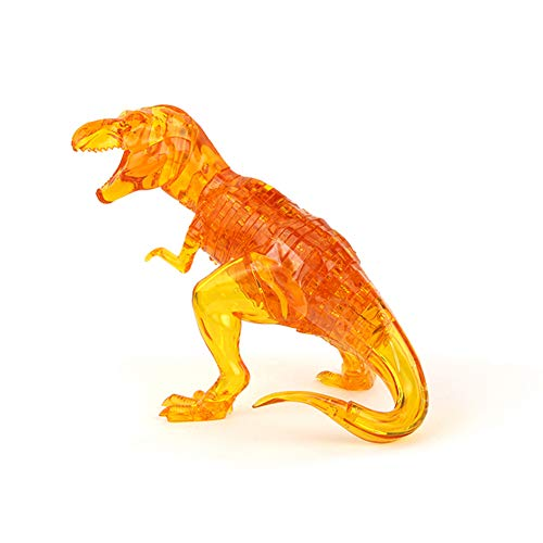 Little Bado DIY 3D Jigsaw Crystal Dinosaur 3D Puzzle with Leaf Plastic Home Decoration Birthday Gift for Children Kids Age 6 7 9 10 11 12 Years Old Adult Crystal Puzzles Yellow