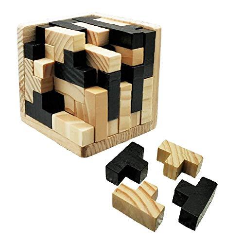 Sinnie 3D Wooden Brain Teaser Puzzle. Russia Jigsaw Puzzle Games. Tetris Puzzle Cube. Genius Skills Builder T-Shape Pieces with Tetris Fit. Educational Toy. Gift Desk Puzzles