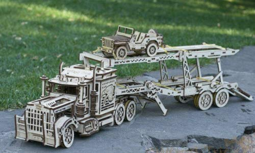Wood Trick Mechanical Wooden 3D Puzzle Big Rig Truck + Auto - Trailer with Jeep Construction Set of 2 Models