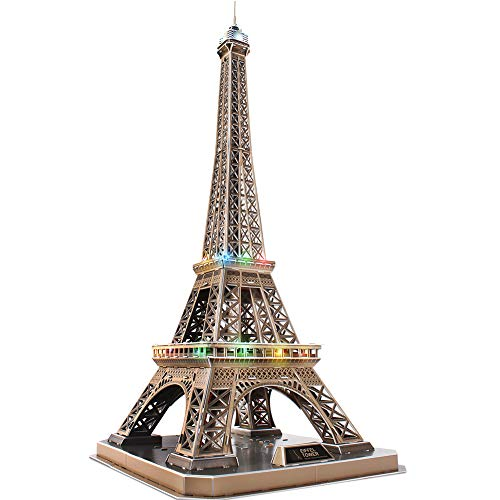 CubicFun 3D French Puzzles Paris LED Architecture Building Model Kits for Adults, Eiffel Tower Lighting Up in Night