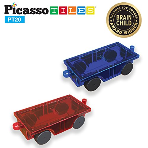 PicassoTiles 2 Piece Car Truck Set w/ Extra Long Bed & Re-Enforced Latch, Magnet Building Tile Magnetic Blocks -Creativity Beyond Imagination! Educational, Inspirational, Conventional,& Recreational!