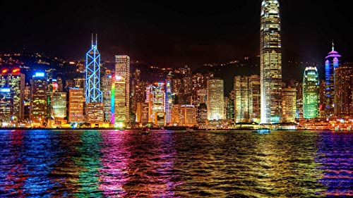 Adult Jigsaw Puzzle 500 Piece Wooden Puzzle Hong Kong City Night Scene Pattern for Teenagers and Adults,Very Good Educational Game