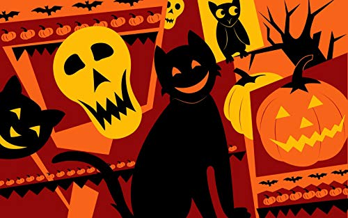 Jigsaw Puzzle 1000 Pieces Adult Puzzle Wooden Puzzle Classic 3D Puzzle Black Cat and Owl Skull Emoticons DIY Modern Art Home Decor 75X50Cm