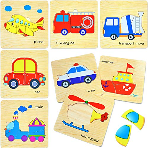 Wooden Puzzles for Toddlers,Preschool Vehicles Beginner Puzzles Set for Kids Shape Color Learning Educational 3D Puzzles Toys (8 Packs)