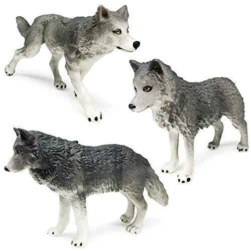 Gray Wolf Toy Figures, Wolf Animals Figurines