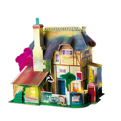 Rolife 3D Wooden Puzzle,LED House Model,Miniature DIY Dollhouse-City Architecture 3D Puzzle Series-Best Birthday Gifts for Women and Girls (England Hut)