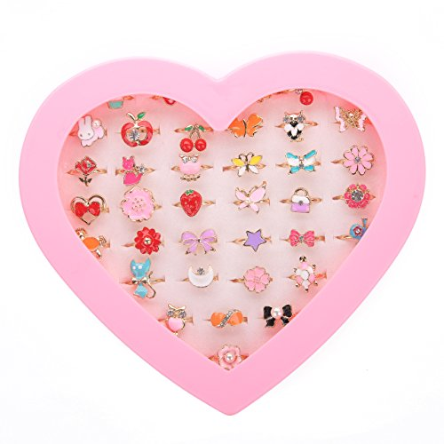 JUNWEISPIN 36 PCS Kids Little Girl Jewelry Jewelry Adjustable Rings Peach Heart Shaped Box Girl Play House Toys and Dress Up Rings Random Shapes and Colors Little Girl Gifts (A1)