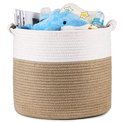 Magicfly Cotton Rope Baskets, 15 X 15 X 14 Inch Large Baby Nursery Basket for Laundry, Toys, Woven Blankets Basket in Baby Nursery or Kids Room, Beige & White