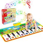 WOSTOO Piano Mat, Musical Piano Mat Keyboard Play Mat Portable Musical Blanket Instrument Toy with 8 Animal Sounds Dance Mat Educational Toy Gift for Kids Toddler Girls Boys