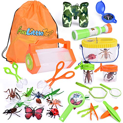 27 PCs Bug Catcher Kits for Kids, Outdoor Explorer Kit with Bug Containers, Butterfly Nets, Magnifying Glass, Binoculars, Insect Traps, Bug Tongs, Telescope, Tweezers, Compass and Backpack