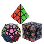 Bundle Pack Speed Cube Set of 3 Pyraminx Pyramid Speedcubing, Megaminx Cube, 3D GEAR MAGIC Cube Twisty Puzzle Great Brain Teasing Game For Kids and Adult