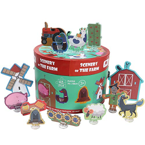 Kids Puzzles Farm Jigsaw Puzzle 3D Animal Jumbo Floor Puzzle Educational Puzzle Gift for 2, 3, 4, 5, 6 Years Old Boys Girls Toddlers Children
