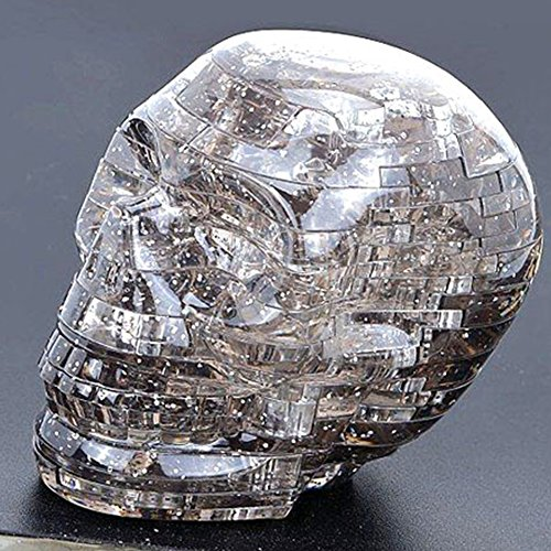 Amyove 3D Skull Skeleton Crystal Puzzle DIY Jigsaw Assembly Toy Model as Gray