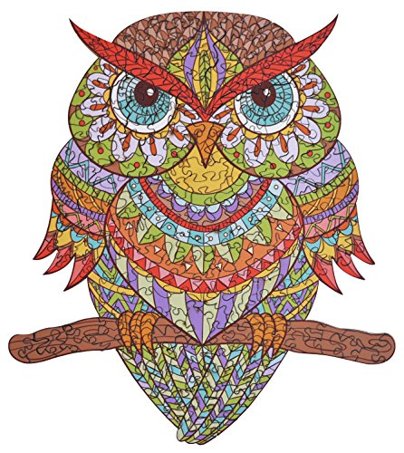 hartmaze Wooden Jigsaw Puzzles - Colorful Owl HM-04 Small Bird Puzzle 206 Unique Shape Jigsaw Pieces-Beautiful Animal for Adults and Kids- Best for Family Game Play Collection.