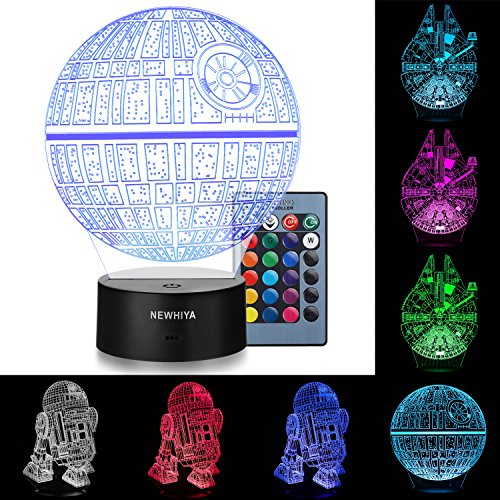 3D Illusion Star Wars Night Light, Three Pattern and 7 Color Change Decor Lamp - Perfect Gifts for Kids and Star Wars Fans