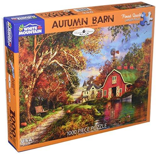 White Mountain Puzzles 1383 Autumn Barn Jigsaw Puzzle, 1000 Piece-Designer: Domenic Davison