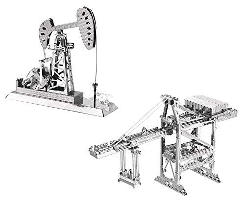 3D Metal Puzzle Models of Crane and Oil Derrick - DIY Toy Metal Sheets Assembling Puzzle, 3D Puzzle - 2 Pack