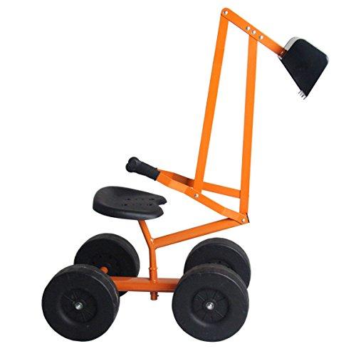 Costzon Kids Ride-on Sand Digger, Outdoor Sandbox Toy, Heavy Duty Steel Digging Scooper Excavator Crane with 4 Wheels