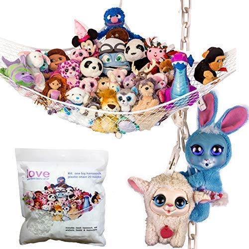 Lilly's Love Stuffed Animals Storage Chain and Hammock Kit Includes Chain & Hammock, Plastic Chain 60 inch + 20 Strong Clips & Hardware