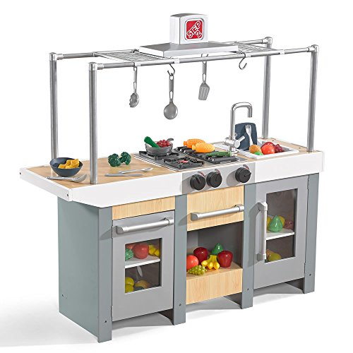 Step2 Uptown Urban Wood Kitchen & Island | Wood Kids Kitchen Playset | 10-Pc Toy Cookware Set Included