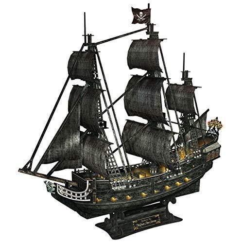 CubicFun 3D Puzzles Large LED Pirate Ship Sailboat Model Building Kits Toys, Queen Anne's Revenge, 340 Pieces