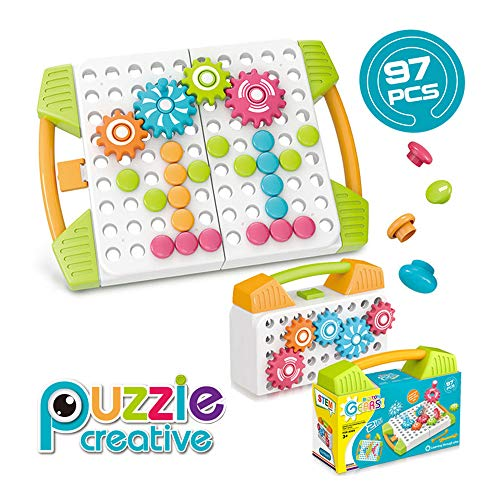 STEM Learning Toys ,Building Block Gifts Set, DIY Creative Educational Construction Toy Peg Board 3D Puzzle Toy Fine Motor Skills Activity Kit with Spanner Tools for Boys and Girls Ages 3+ (97 Pcs)