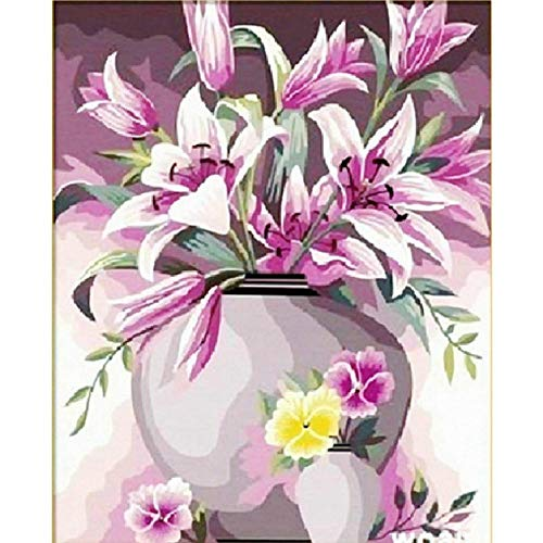 Jigsaw Puzzle 1000 Pieces Adult Puzzle Wooden Puzzle Classic 3D Puzzle Vase Lily Purple Flower Modern Gift for Children DIY Collectibles Modern Home Decoration,75X50Cm