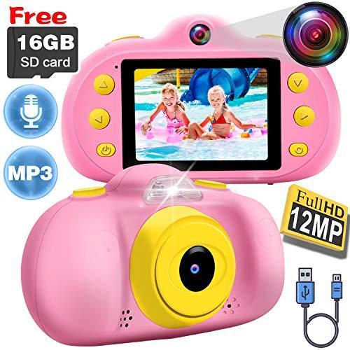[12MP] Kids Camera Girl Gift 3-10 Year Old Kid Toy DUAL Lens Camera HD 1080P Selfie Camera 2.4