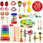 Kids Musical Instruments, 28Pcs 19Types Wooden Instruments Tambourine Xylophone Toys for Kids Children, Preschool Educational Learning Musical Toys for Boys Girls with Storage Baakpack